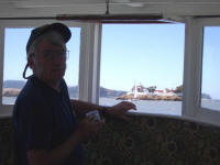 My capable crew - Joseph Butterman at East Brother Light Station on momentarily calmer waters.